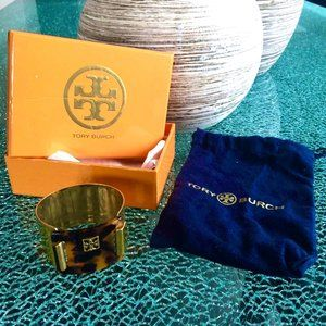 Tory Burch gold and tortoise shell cuff bracelet